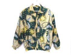 90's Sun, Moon and Stars Silk Bomber Jacket size - M