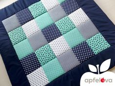 Baby Blankets - SEA FRIENDS Baby Blanket Baby Blanket - a designer product from apfel . Quilt Baby, Baby Patchwork Quilt, Blue Quilts, Beginner Quilt Patterns, Baby Quilt Patterns, Bubble Quilt, Puff Quilt, Baby Boy Blankets, Baby Decor