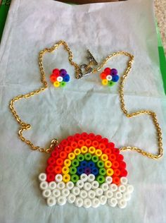 Perler Rainbow Necklace and Earring Sets by sakichan