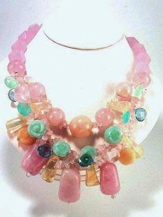 Handwoven Necklace,semi-precious stone,rose quatzs jade citrine,pineapple quartz