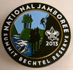 """Boy Scout 2013 National Jamboree Summit Bechtel Reserve Collectible Full Color Pin Lot of 3 Each Pin measures 1 1/4"""" diameter The pin design features the official 2013 Jamboree design showing a kayake"""