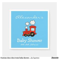 Custom choo choo train baby shower napkins for boy Baby Birthday, 1st Birthday Parties, Baby Shower Napkins, Choo Choo Train, Cocktail Napkins, Childrens Party, Personalized Baby, New Baby Products, Paper Napkins