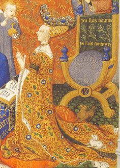 The Bedford Hours is a French late medieval book of hours. It dates to the early fifteenth century (c. 1410-1430).  This is Anne, Duchess of Bedford (detail) - British Library Add MS 18850 f257v - Bedford Hours --- (1410-1430)