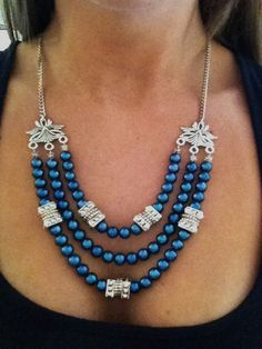 Stylish 3 strand necklace to add some edge and interest to an outfit.  Handmade & for sale online!