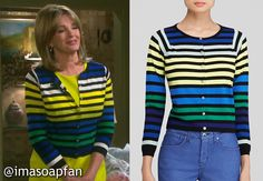 I'm a Soap Fan: Marlena Evans's Multicolored Striped Cardigan - Days of Our Lives, Season 50, Episode 246, 09/10/15 Deidre Hall, wardrobe worn on #DaysofOurLives #Days50