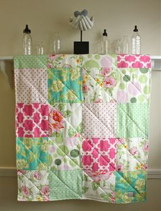 Baby Quilt   Nicey Jane  Girl Crib Quilt in Pink by FernLeslieBaby, $98.00