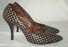 Vintage 50s Chiffons custom stiletto pinup heel pump shoe black 5 or 5.5