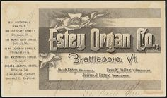 Estey Organ Co. Brattleboro, Vt.  My mom played an Estey for 35 years at the United Methodist Church in Littleton, NH. Lovely and reliable instrument....
