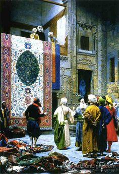 """Gérôme was one of the prime figures in the Orientalist movement in 19th-century painting and sculpture, typified in """"The Carpet Merchants"""" (1887), a stunning piece of color and detail and exoticism."""
