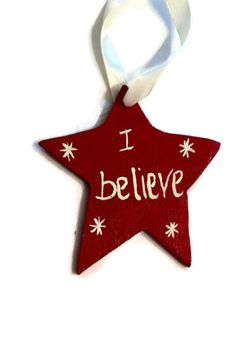Star wooden Christmas ornament hand made hand painted or use as a gift tag