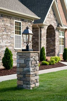 Use Stone That Matches Your Exterior On Light Posts And Mailboxes To Add  #Craftsman Character