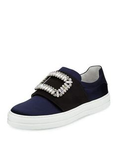 ROGER VIVIER Patent Strass Buckle Satin Sneaker, Navy/Black. #rogervivier #shoes #