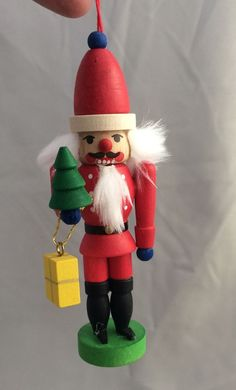 Christian ULBRICHT NUTCRACKER w gift & CHRISTMAS Tree Ornament Erzgebirge German
