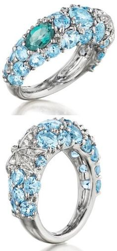 Mimi Así Couture Jesi Pinky Ring. Aquamarine (3.50ct), Turmalina verde (0.47ct) y anillo de diamantes (0.10ct) en oro blanco.