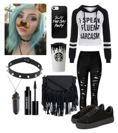 """Black, White & Blue"" by weird-kitten on Polyvore featuring Edward Bess"