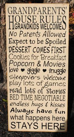 grandparents rules sign - Google Search