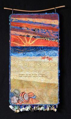 Small art quilt beach scene by Eileen Williams Ocean Quilt, Beach Quilt, Quilting Projects, Quilting Designs, Art Quilting, Craft Projects, Small Quilts, Mini Quilts, Landscape Art Quilts