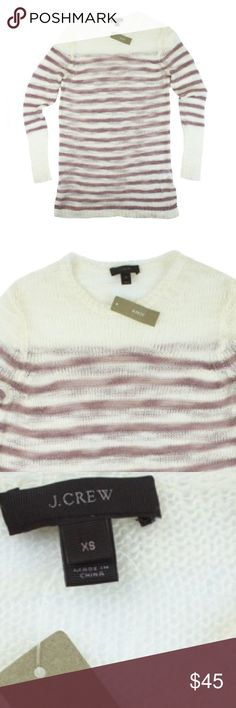 """New JCREW Open Knit Sweater in Stripe This new ivory and natural lavender Open Knit Sweater from JCREW features a relaxed fit, crew neckline and is semi sheer. Made of a mohair blend. Measures: bust: 37"""", total length: 31"""", sleeves: 25"""" J. Crew Sweaters Crew & Scoop Necks"""