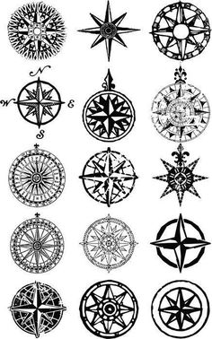 """Wall Mural """"compass, rose, map - wind roses - nautical compass vector grunge collection"""" ✓ Easy Installation ✓ 365 Day Money Back Guarantee ✓ Browse other patterns from this collection! Tatoo Compass, Nautical Compass Tattoo, Compass Tattoo Design, Nautical Tattoos, Compass Drawing, Geometric Tattoos, Triangle Tattoos, Body Art Tattoos, New Tattoos"""