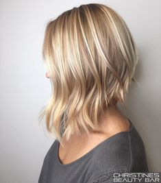 Angled Blonde Lob For Fine Hair