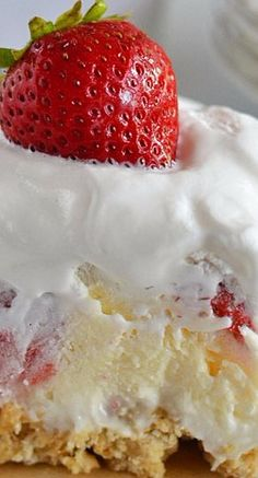 Strawberry Cheesecake Lush ~ Layers of cream cheese, Cool Whip, cheesecake pudding and fresh strawberries