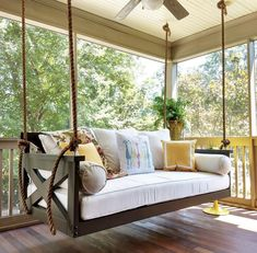 Not your average porch swing! Our swing beds are hand-built, unique and customiz… Not your average porch swing! Our swing Chill Lounge, Home Design, Interior Design, Design Ideas, Building A Porch, Outdoor Living, Outdoor Decor, Indoor Outdoor, Outdoor Swings