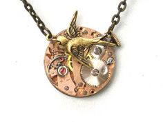 RARE Rose Gold Face - Steampunk - Hunger Games - SOARING BIRD Watch Movement Necklace - Neo Vicotirian - GlazedBlackCherry 7 | GlazedBlackCherry - Jewelry on ArtFire