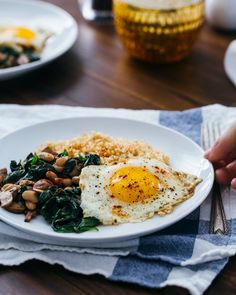Fried Eggs with Bulgur and Spinach | a Couple Cooks