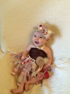Shabby Chic Burgandy, Red, and Cream Tutu with matching headband.