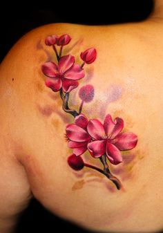 Cherry Blossom flower tattoo by Chris 51 of Area 51 Tattoo, Springfield, OR