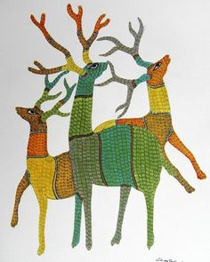 Among the largest tribes in India, the Gonds have a recorded history that goes back 1400 years. They are present in significant numbers in Madhya Pradesh, Andhr Vogel Illustration, Indian Art Paintings, Fish Paintings, Motifs Animal, Madhubani Art, Indian Folk Art, Deer Art, Madhubani Painting, Aboriginal Art