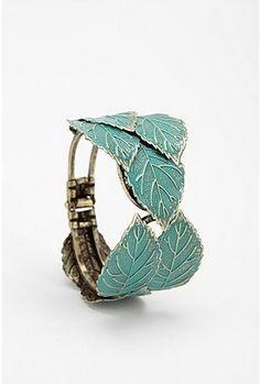 UrbanOutfitters.com > Patina Leaf Hinged Cuff Bracelet - StyleSays