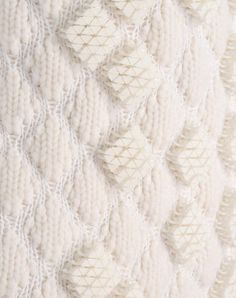 3D Embroidery - knitwear detail with diamond pattern & textured embellishment // Pringle of Scotland #textiles