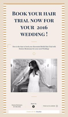 Book your hair trial now for your2016 wedding
