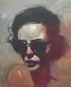 """Private Thought"" - Michael Carson (b. 1972), oil on panel {figurative art beautiful female head sunglasses woman face portrait painting #loveart} #OilPaintingPortrait"