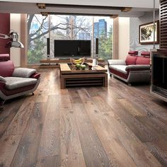 Wide Plank Engineered Brushed/Washed/Oiled Alsace White Oak Wood Floor                                                                                                                                                     More