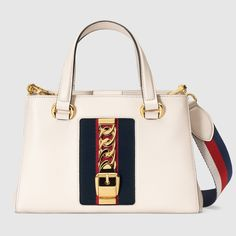 GUCCI - Sylvie leather top handle bag, white leather