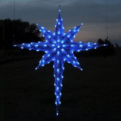 Double sided 3D Star of Bethlehem 6 ft - LED Blue $1,199.00.  Perfect for Church, business, institution or town. Professionally designed and built by hand in the U.S.A., using only the highest quality materials, including commercial-grade C7 LED lights and fade-resistant fine-cut PVC garland for attractive daytime viewing.