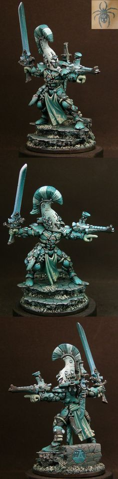 Eldar Exarch of the Dire Avengers Aspect Warriors - wonderful colors battle hardened armour