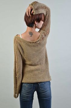 Hand Knit Woman Sweater  Eco Cotton sweater in Wheat  ready
