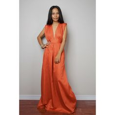 Orange Maxi Dress Long Formal Orange Dress Orange Dress Oriental... ($65) ❤ liked on Polyvore featuring dresses, grey, women's clothing, grey cocktail dress, plus size summer dresses, orange cocktail dress, long cocktail dresses and long evening dresses