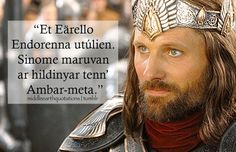 """"""" - Elendil's Oath spoken by Aragorn (sung in the film), The Return of the King, Book VI, The Steward and the King """"Out of the Great Sea on the wings to Middle-earth I am come. In this place will I. Middle Earth Books, History Of Middle Earth, Tolkien Quotes, Tolkien Books, Jrr Tolkien, Aragorn, Fictional Languages, Lotr Cast, Earth Quotes"""