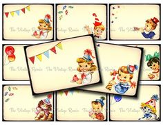 Vintage Birthday Party Digital Collage Sheet, Name Tags, Place Cards, Gift Tags ATC ACEO $3.75