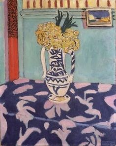 Matisse - vase of flowers on a blur tablecloth...