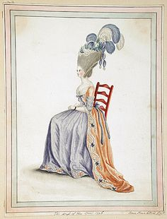 The Dress of the Year 1776, by Ann Frankland Lewis  Orange and purple together! Be still my heart