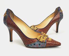 Cole Haan womens shoes 8.5 M pointed toe heels brown leather and tie silk #ColeHaan #Heels