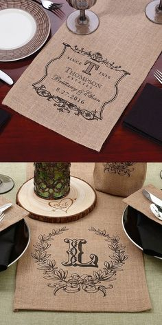The perfect finishing touch to a rustic, country, barn, or Boho bridal table, a burlap table runner personalized to honor the bride and groom is a useful wedding reception decoration that will be a lasting wedding souvenir as well. After the wedding, the table runner can be used at home as a table decoration or decorative wall art with the printed runner ends cut and framed. These table runners can be ordered at…