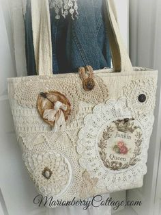 JUNKIN QUEEN Vintage crochet and lace jumbo tote purse