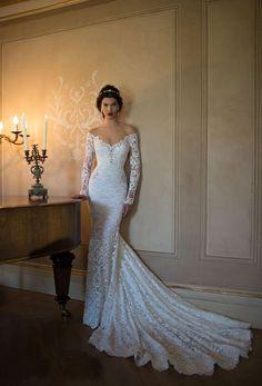 2015 Long Sleeve Sexy V-neck Mermaid Wedding Dresses Romantic Lace Bridal Grown #Handmade #Mermaid #Formal