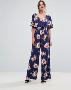 Miss Selfridge Floral Print Knot Back Jumpsuit